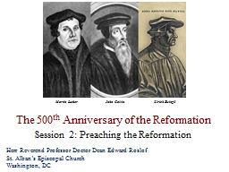 The 500 th  Anniversary of the Reformation