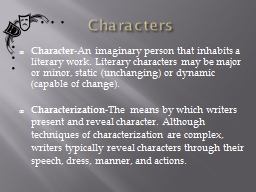 Characters Character PowerPoint PPT Presentation