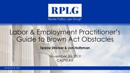 Labor & Employment Practitioner's Guide to Brown Act Obstacles