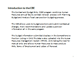 Introduction to the CBE