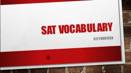 SAT  VOcabulary SET Fourteen