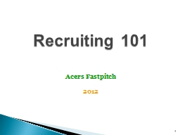 1 Recruiting 101  Acers Fastpitch