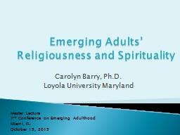 Emerging Adults' Religiousness and Spirituality