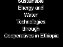 Sustainable Energy and Water Technologies through Cooperatives in Ethiopia
