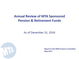 Annual Review of MTA Sponsored