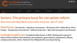 Sectors. The primary locus for corruption reform