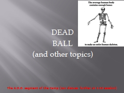 DEAD BALL (and other topics)