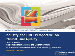 Industry and CRO Perspective on Clinical Trial Quality