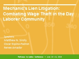 Mechanic's Lien Litigation: Combating Wage Theft in the Day Laborer Community