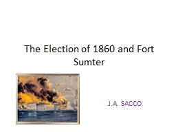 The Election of 1860 and Fort Sumter