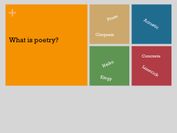 Elements of Poetry Poetry is