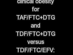 Progressive rises in weight and clinical obesity for TAF/FTC+DTG and TDF/FTC+DTG versus TDF/FTC/EFV: ADVANCE and NAMSAL trials