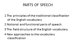 PARTS OF SPEECH 1  The