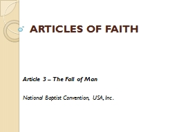 ARTICLES OF FAITH Article 3 – The Fall of Man