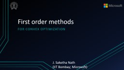 First order methods