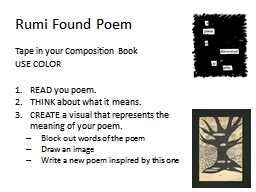 Rumi Found Poem Tape in your Composition Book