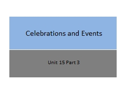 Celebrations and Events