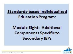 Standards-based Individualized Education Program: