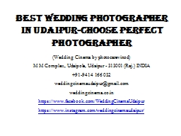 Best Wedding Photographer in Udaipur-Choose Perfect Photographer