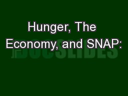 Hunger, The Economy, and SNAP: