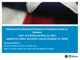 Clinical and Institutional Disclosure of Adverse Events to Patients