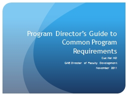 Program Director's Guide to Common Program Requirements PowerPoint PPT Presentation