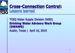 Cross-Connection Control: