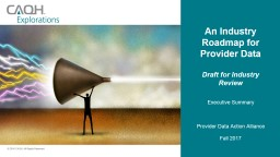 An Industry Roadmap for Provider Data PowerPoint PPT Presentation