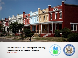 HUD and USICH: Core Principles of Housing First and Rapid Re-Housing Webinar