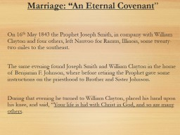 "Marriage: ""An Eternal Covenant"