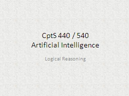 CptS  440 / 540 Artificial Intelligence