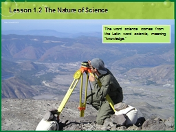 Lesson 1.2  The Nature of Science