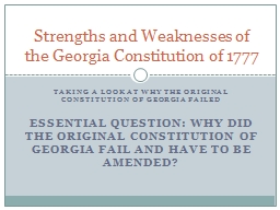 Taking a look at why the original constitution of Georgia failed