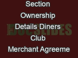 Section Ownership Details Diners Club Merchant Agreeme