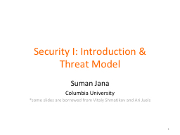 Security I: Introduction