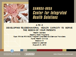 A TO Z  DEVELOPING TELEBEHAVIORAL HEALTH CAPACITY TO SERVE THE NEEDS OF YOUR PATIENTS