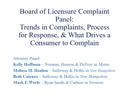 Board of Licensure Complaint Panel: