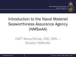 Introduction to the Naval Materiel Seaworthiness Assurance Agency (NMSwAA)