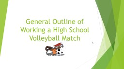 General Outline of Working a High School Volleyball Match