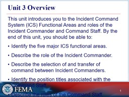 Unit3 Overview This unit introduces you to the Incident Command System (ICS) Functional Areas and roles of the Incident Commander and Command Staff. By the end of this unit, you should be able to: