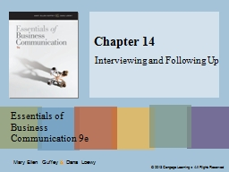 Chapter 14 Interviewing and Following Up