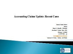 Accounting Claims Update: Recent Cases