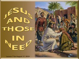 JESUS AND THOSE IN NEED