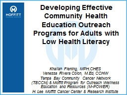Developing Effective Community Health Education Outreach Programs for Adults with Low Health Literacy