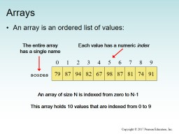 Arrays An array is an ordered list of values: