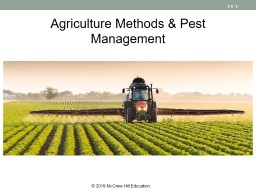 Agriculture Methods & Pest Management