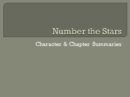 Number the Stars Character & Chapter Summaries
