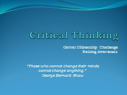 Critical Thinking Global Citizenship Challenge