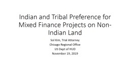 Indian and Tribal Preference for Mixed Finance Projects on Non-Indian Land