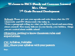 Welcome to FACS (Family and Consumer Sciences)